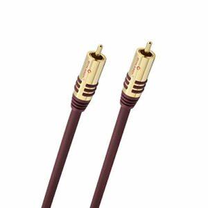 Oehlbach NF Sub, câble de subwoofer Cinch, câble Audio 1m, OFC, Rond, Bordeaux