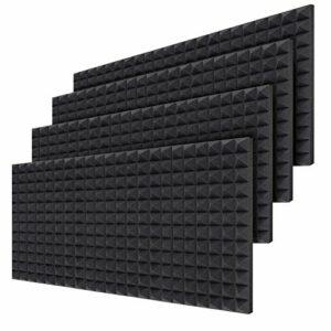 Ohuhu panneaux de mousse acoustique pyramide de qualité supérieure, 24 pièces de mousse acoustique pour studio, Panneaux muraux de 40,5 X 30,5 X 5 cm