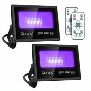 Onforu Lot de 2 Projecteur UV LED 30W, Lumière Noire Extérieur avec Télécommande et 6000K Blanche Froide, IP66 Imperméable Noire UVA Blacklight pour Fluorescente, Fête, Étape, Affiche, Jardin, Soirée