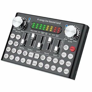 POHOVE Carte son Bluetooth Live avec effets et changement de voix, mixeur audio DJ, mini table de mixage pour téléphone portable, ordinateur, jeux en direct, diffusion en direct, karaoké