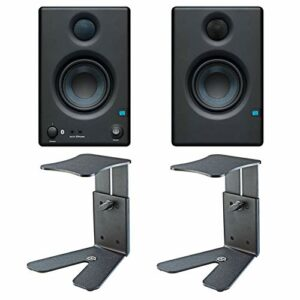 Presonus Eris 3.5 BT Enceintes multimédia actives Bluetooth + 2 pieds de bureau K&M 26772 + chiffon en microfibre Keepdrum