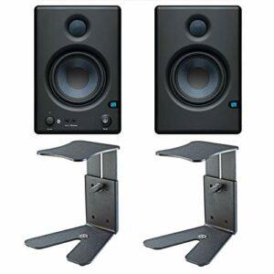 Presonus Eris E4.5 BT Enceinte de moniteur actif de studio Bluetooth + 2 pieds de bureau K&M 26772 + chiffon en microfibre Keepdrum