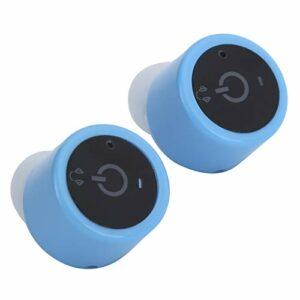 PUSOKEI Écouteurs Bluetooth sans Fil à réduction de Bruit Casque Audio stéréo Mini écouteurs de Sport Prise en Charge du Casque Deux téléphones Portables Connexion pour Conduire/Courir(Bleu)
