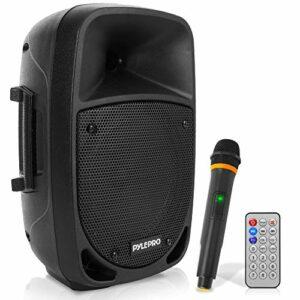 PYLE PSBT85A Enceinte Sono Portable sur Batterie 800W avec WOOFER 8' Bluetooth USB MP3 FM Micro sans Fil UHF