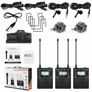 Récepteur de Microphone sans fil, CVM-WM300A 1R2T UHF Kit de récepteur d'émetteurs de microphone à pince sans fil pour DSLR