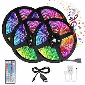 Ruban LED 20M Bande LED RGB Multicolores avec Télécommande à 44 Touches Synchroniser avec Rythme de Musique Bande LED Auto-adhésif pour Maison Décoration Cuisine Télévision Fête(20M Pas étanche)