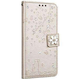 Saceebe Compatible avec Huawei P8 Lite 2017 Coque Pochette Portefeuille Housse Cuir Glitter Diamant Fleur de cerisier Chat Coque Flip Case Support Stand Housse Magnétique Étui à Rabat,Or