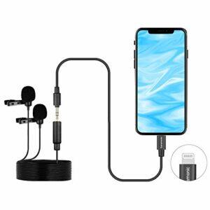 Saramonic LavMicro U1C Microphones cravate à double tête numérique Micro cravate omnidirectionnel avec adaptateur Lightning Plug Compatible avec iPhone iPad iOS MAC pour YouTube Video Facebook Live