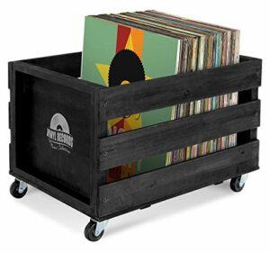 Stagecaptain SPK-100BK «Emil» Boîte de Rangement Vinyle – Pour 100 Vinyles – En Bois Massif au Design Rétro – 4 Roulettes Pivotantes – Box Caisse Organisation – Noir