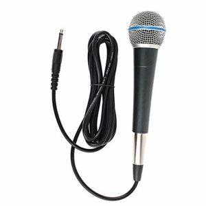 SunniMix Dynamique Karaoké Microphone pour Chanter avec 3m Câble en Métal de Poche Mic Compatible avec Karaoké Machine/Haut-Parleur pour Le Karaoké Chant,