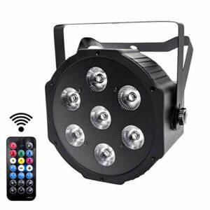 UKing Projecteur LED DMX 7 LED DMX RGBW Disko avec télécommande sans Fil 8 Modes de lumière Disco pour DJ Bar Mariage Noël Halloween