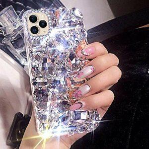 Uposao Coque de protection pour iPhone 12 Pro Max – Brillant – Strass – Diamant – Fine – Transparent – Silicone – Cristal