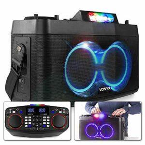 Vonyx CDP800 Station DJ Portable Batterie, Mixeur double et show de lumière LED, USB/AUX, Dual Bluetooth pour connexion sans fil, Haut-parleurs avec basses de qualité, Bandoulière pour le transport