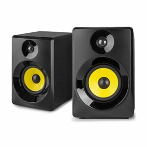 VONYX SMN30B Enceintes Monitoring – Paire d'enceintes de Studio 3″, Puissance 60 Watts Max, Réglages Graves et aigus, Qualité idéale pour Mastering en Studio