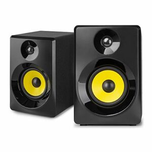 VONYX SMN40B Enceintes Monitoring – Paire d'enceintes de Studio 4″, Puissance 100 Watts Max, Réglages Graves et aigus, Qualité idéale pour Mastering en Studio