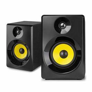VONYX SMN50B Enceintes Monitoring – Paire d'enceintes de Studio 5″, Puissance 140 Watts Max, Réglages Graves et aigus, Qualité idéale pour Mastering en Studio
