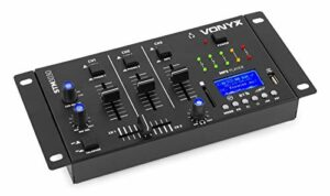 Vonyx STM3030 Table de mixage 4 canaux – Port USB, Technologie sans fil Bluetooth, 2 canaux phono/ligne commutables, 1 canal MP3/ligne, 2 entrées micro, Sortie casque, Idéal pour DJ mobile