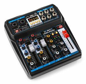 VONYX VMM-P500 Table de mixage 4 canaux, Technologie Bluetooth, MP3/USB, 16 Effets digitaux, Entrées Microphones, Sonorisation Professionnelle, DJ, Discothèque
