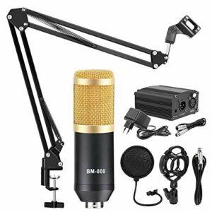 YuanLife BM 800 Karaoke Microoke Studio Kit pour l'enregistrement de l'ordinateur Carte Audio Changeur Vocal Changeur Phantom Power Condenseur Microphone (Couleur : Gold Grey Kits 3)