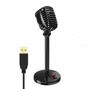 YWSZJ Karaoke Microphone Filaire Studio HD Noise Annulation de Condenseur Tabletop USB 3.5mm Mirculophone pour Ordinateur Professionnel rétro Micro (Color : Style 2)