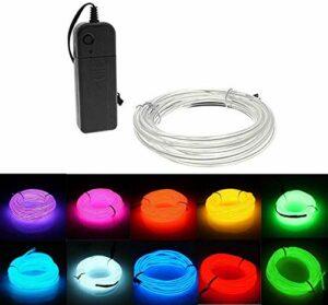 ZJJZ Lumières au néon avec Batterie 3m / 9ft Lampes au néon Flexibles 3 Modes d'éclairage Lumières au néon Lumières de Voiture Jardin Décoration de Mariage LED Feux de Corde de Vacances