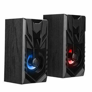 1 paire haut-parleurs de bureau en bois, haut-parleur de son stéréo universel à 360 °, boîtier de son en bois multifonctionnel, haut-parleurs portables multimédia USB (NEGRO) ( Color : Negro )