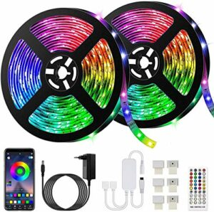 10M Bluetooth Tiras LED Musical 5050 RGB, Tiras de Luces LED Iluminación avec 12V 300 LEDS, Contrôle de l'application et de contrôle à distance, Función Musical, Horario Personal, Imperméable