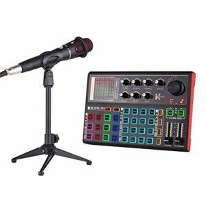 Adaskala Carte Son en Direct K300 Kit de mixage Audio avec changeur de Voix Externe reable intégrée Effets sonores Multiples avec Microphone Support de Micro Écouteur pour