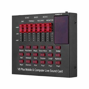 Adaskala V8plus Carte de mixage de Son changeur de Voix pour Carte Son en Direct Effets sonores Multiples mélangeur Audio équipement de Chant