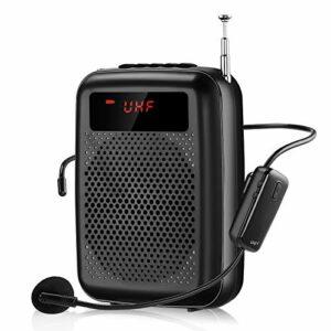 Amplificateur vocal avec microphone sans fil pour enseignants 12 W (2000 mAh) Rechargeable Amplificateur vocal portable Bluetooth système PA pour guide touristique, entraînement