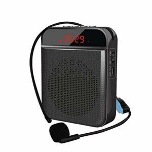 Amplificateur vocal, mini amplificateur vocal Bluetooth portable avec casque micro sans fil UHF, haut-parleur de système de sonorisation rechargeable 15W 3000mAh pour enseignants, chant, entraîneurs,