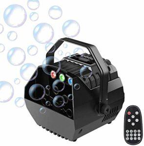 Anciun Portable Machine à Bulles de Savon, RGB Lumières Bubble Machine Automatique à Bulles de Savon Alimenté par Batterie ou Prise avec Télécommande pour Enfants Fête Mariage Éclairage de Scène
