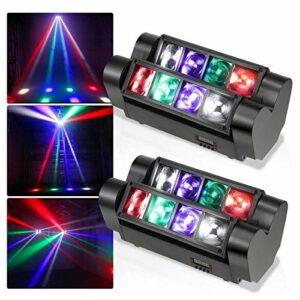 Aocean 2 Pcs Disco Light Rigging Moving Head Stage Light, 2Pcs 8 LED Spider Light 4 en 1 DMX512 Control pour la fête, Les événements en Direct, la discothèque, Les Bars, Les Clubs – Gorgeou