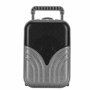 ASHATA Mini Haut-Parleur Bluetooth avec Radio, Forme de Bagage Portable, Haut-Parleur sans Fil, Lecteur de Musique avec Son stéréo 360 ° pour Les activités de Plein air en intérieur(Gris)