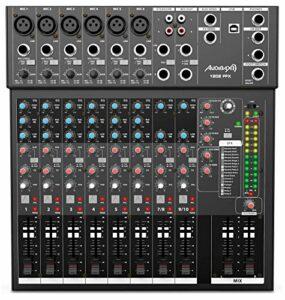 Audibax 1202 FFX Table de mixage 12 canaux Interface audio USB Table DJ analogique Processeur à effets intégrés 315 x 100 x 340 mm Alimentation Phantom 48 V