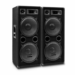 AUNA Pro PW MKII – Enceintes de Sono passives, Lot de 2, Conception 3 Voies, Tweeter piézo, Caisson de Basses de 30,5 cm (10″), capacité de Charge: 500W RMS / 1000 Wmax – Noir