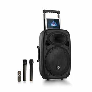 AUNA Pro Streetstar – Enceinte Bluetooth Mobile, Karaoké, Subwoofer, Micro UHF sans Fil, Solide boîtier en ABS, Poignées de Transport, Conception Bassreflex, Line-Out, 800w – Noir