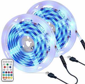 Bande LED RVB étanche, 4 modes de luminosité et 16 couleurs, bandes LED USB 6M avec télécommande, bande LED dimmable pour chambre, maison, cuisine, bar, fête, mariage, restaurant