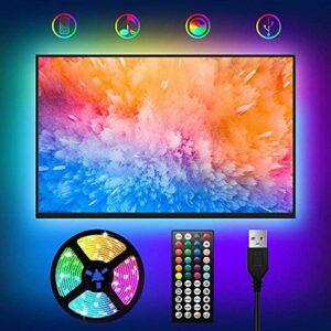 Bande LED USB pour TV 2M, lumières LED RVB, 24 touches, 4 modes et 20 couleurs pour TV / PC 30-60 pouces, télécommande et synchronisation musicale, bandes LED multicolores 5050,