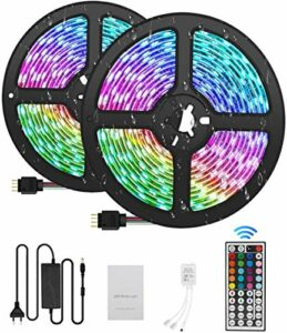 Bandes LED 10M, 300LED, Bandes d'éclairage, Télécommande à 44 touches Kit complet LED 5050 RVB, Adaptateur secteur étanche IP65 5A,