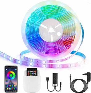 Bandes LED, contrôle des applications, synchronisation de la musique Bluetooth, télécommande étanche 5M 5050 44 boutons et boîtier de commande, pour pièce, chambre, plafond, télévision.