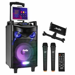 Bluetooth Sonorisation Portable Moukey Karaoké Speaker Haut-parleurs 160W Enceinte Sono PA système avec lumières DJ double VHF Micros Support Tablette Radio MP3/USB/TF/FM pour la fête de Noël 10″