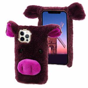 CESTOR Fourrure Coque pour iPhone 11 6.1″,Mignon 3D Porc Animal Velu Peluche Étui de Protection Hiver Chaud Souple Silicone TPU Anti-Choc Housse avec Brillant Strass,Violet