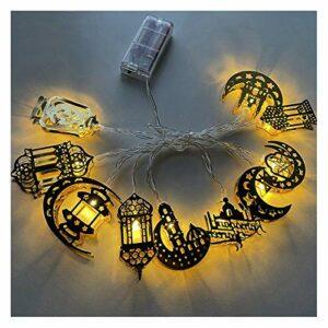 CMTTOME Guirlande lumineuse LED pour l'Aïd, lune, étoile et Ramadan Mubarak – Décoration pour la maison, le salon, le jardin, la cheminée – 1,6 m
