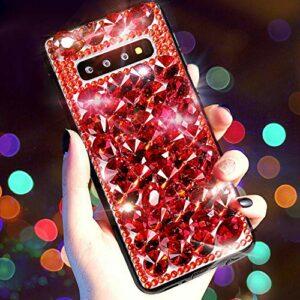 Coque Compatible avec Samsung Galaxy S10 Plus,QPOLLY Diamant Strass Brillante Glitter de Housse Étui PC Plastique Hard Case Silicone TPU Bumper avec Absorption de Choc pour Galaxy S10 Plus,Rouge
