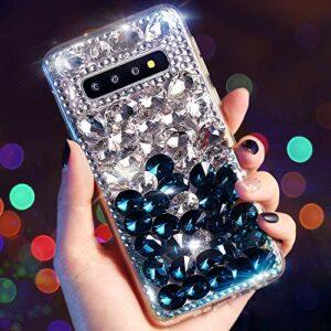 Coque Compatible avec Samsung Galaxy S10,QPOLLY Diamant Strass Brillante Glitter de Housse Étui PC Plastique Hard Case Silicone TPU Bumper avec Absorption de Choc pour Galaxy S10,Bleu Argent