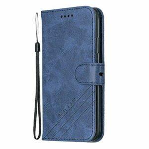 Coque pour iPhone XS/iPhone X Prime PU Cuir Flip Folio Housse Étui Cover Case Wallet Portefeuille Support Dragonne Fermeture Magnétique pour Apple iPhone XS/X – JEHX010038 Bleu
