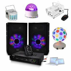 DJ350LED SONO 480W avec TABLE DE MIXAGE + AMPLI + ENCEINTES + JEUX DE LUMIERE + MACHINE A FULMEE 400W – PA DJ SONO MIX BAR CLUB DISCO