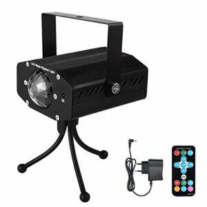 Éclairage de Scène RGB LED Stage Stage Auto-Run/Son Activé/Télécommande/Vitesse Réglable Éclairage de Scène pour DJ (Couleur : Black, Size : EU)