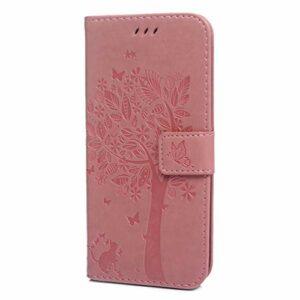 Étui portefeuille en cuir pour Sony Xperia L3 avec support pour cartes et support pour Sony Xperia L3 Violet rose